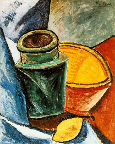 Pablo Picasso. Jug, bowl and lemon, 1907