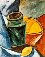 Jug, bowl and lemon