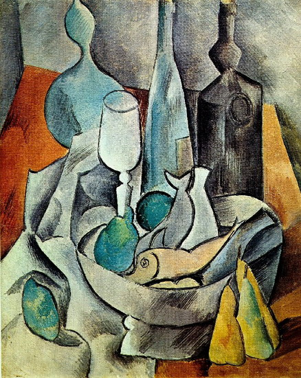 Pablo Picasso. Fish and bottles, 1908