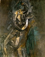Pablo Picasso. Woman sitting in a chair eating flowers