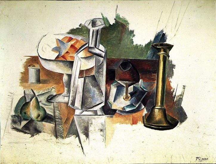 Pablo Picasso. Carafe and candlestick, 1909