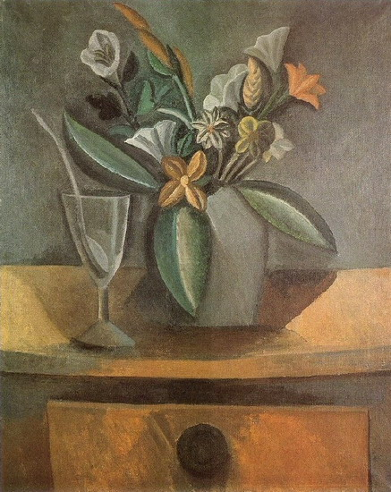 Pablo Picasso. Vase of Flowers, wine glass and spoon, 1908