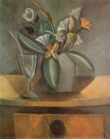 Vase of Flowers, wine glass and spoon