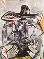 Pablo Picasso. Bust of man with a hat and woman's head