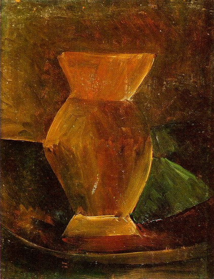 Pablo Picasso. Still life with vase and green l`etoffe, 1908