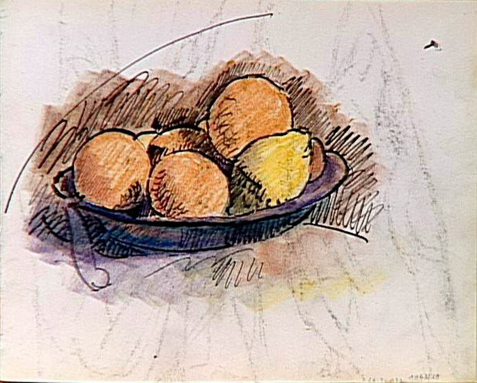 Pablo Picasso. study for still life (fruit in a cup), 1907