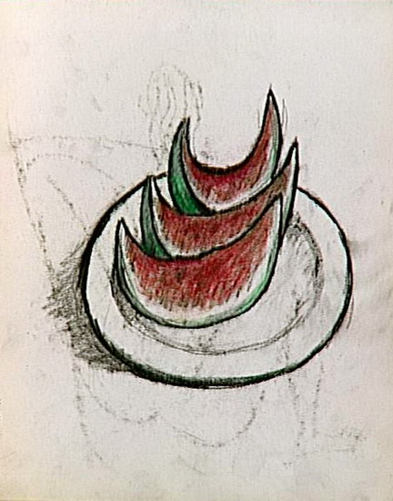 Pablo Picasso. study for still life (slices of watermelon on a plate), 1907