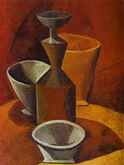 Pablo Picasso. Carafe and tumblers, 1908