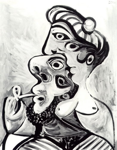 Pablo Picasso. Man and woman- busts, 1969