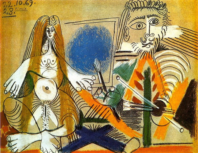 Pablo Picasso. The painter and his model, 1969