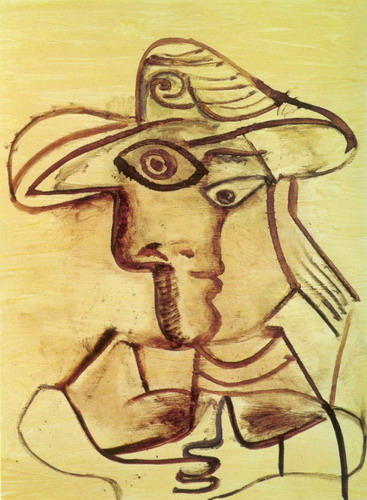 Pablo Picasso. Bust with a hat, 1971