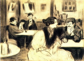 Pablo Picasso. at cafe