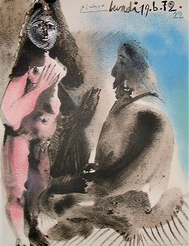 Pablo Picasso. Standing nude and man sitting, 1972