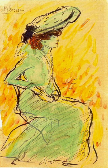 Pablo Picasso. Woman in green dress sitting, 1901