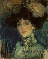 Woman with feather hat