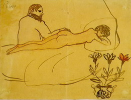 Reclining Nude and Picasso sitting