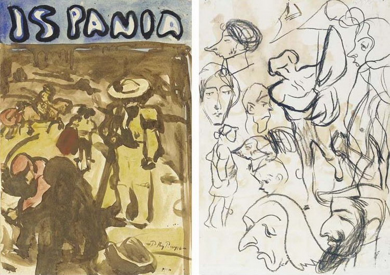Pablo Picasso. Bullfighting (front) Sketches (back), 1899
