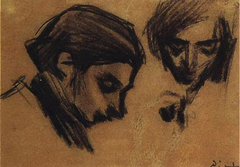 Pablo Picasso. Casagemas front and profile, 1900