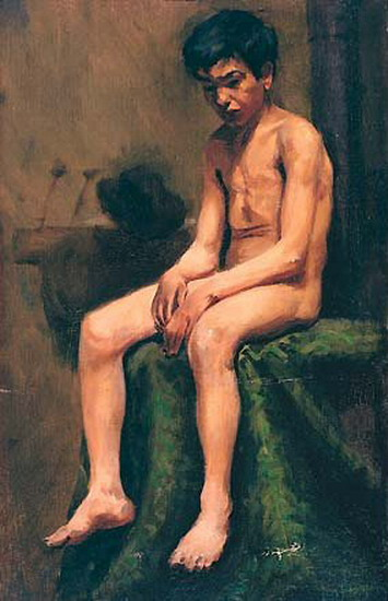 Pablo Picasso. Garcon bohemian naked, 1898