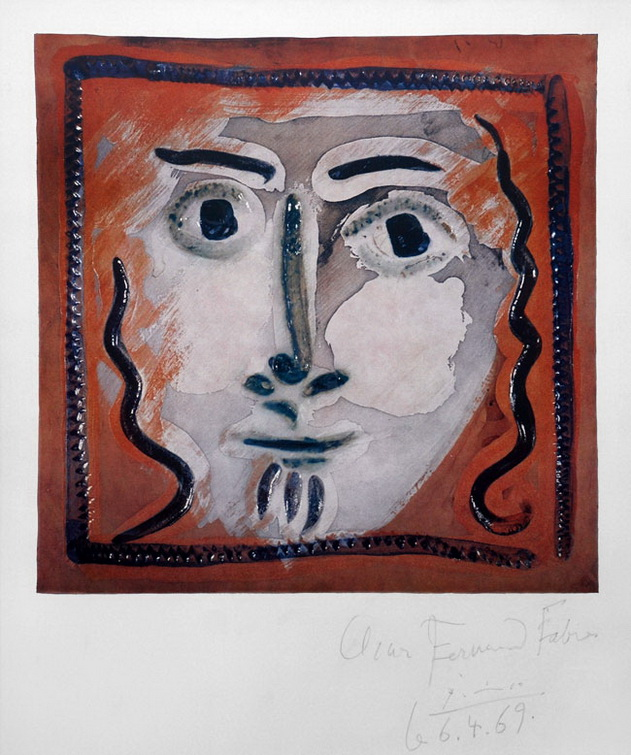Pablo Picasso. Face of a Gentleman with Wavy Hair, 1969