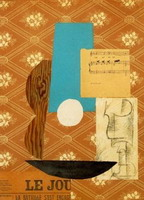 Pablo Picasso. Guitar, Sheet Music, and Glass, 1912