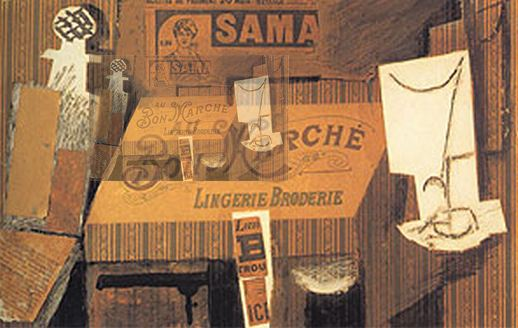Pablo Picasso. Still life with the advertisement, 1913