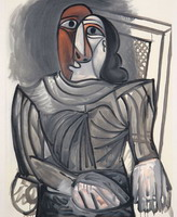 Woman Seated at the Grey Dress