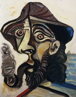 Pablo Picasso. Head man smoking a pipe (for Jacqueline), 1971