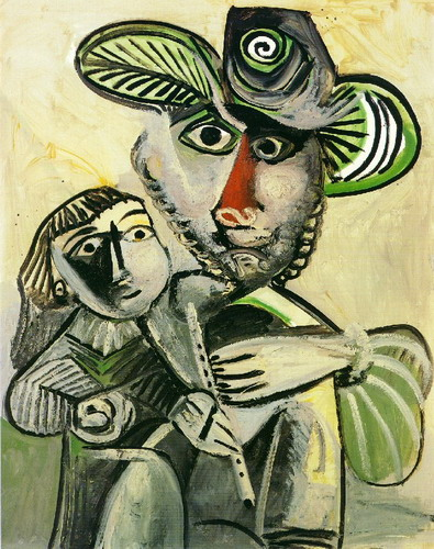 Pablo Picasso. Man with flute and child (Attribution), 1971