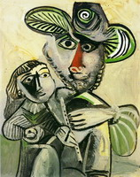 Pablo Picasso. Man with flute and child (Attribution)