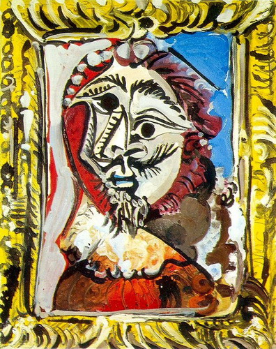 Pablo Picasso. Bust of man frames, 1969