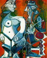 Nude woman and man with a pipe