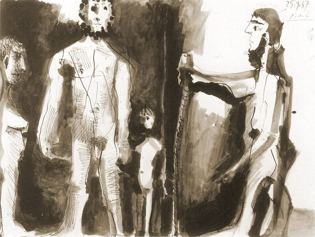 Pablo Picasso. Four naked figures, 1967