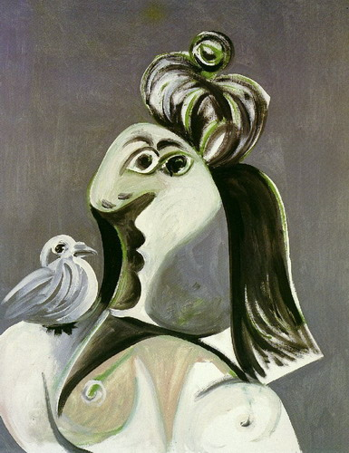 Pablo Picasso. Femme au chignon and the green bird on shoulder, 1970
