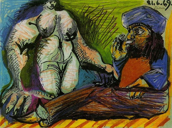 Pablo Picasso. Smoker and nude woman (Fumeur et femme nue), 1969