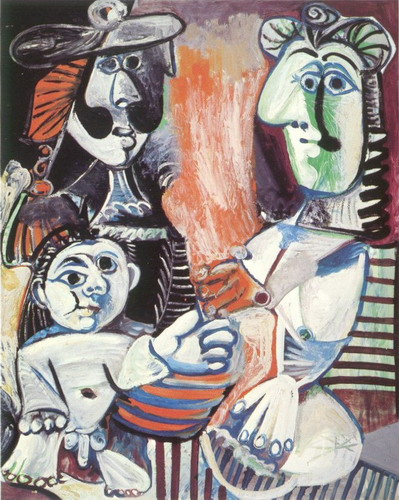 Pablo Picasso. Man, woman and child, 1970