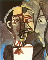 Pablo Picasso. Bust of man and woman face profile