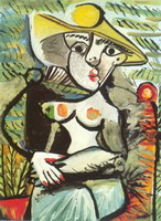 Sitting woman with a hat