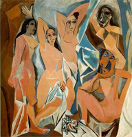 Pablo Picasso. Les Demoiselles d'Avignon (The Young Ladies of Avignon), 1907