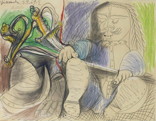 Pablo Picasso. Man with helmet and sword, 1969
