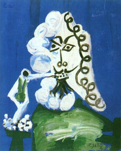 Pablo Picasso. Seated Man with a Pipe, 1968