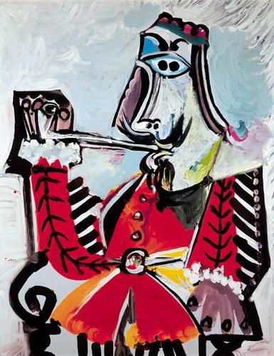 Pablo Picasso. Man with pipe sitting, 1969
