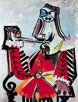 Pablo Picasso. Man with pipe sitting