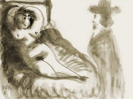 Pablo Picasso. Reclining Woman and gentleman