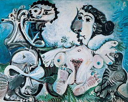 Pablo Picasso. Naked woman l`oiseau and flute player