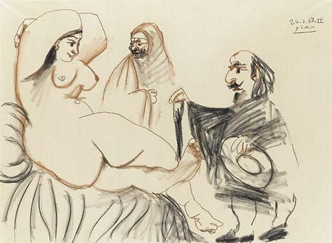 Pablo Picasso. Musketeer and courtesan, 1968