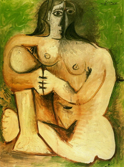 Pablo Picasso. Naked woman squatting on a green background, 1960