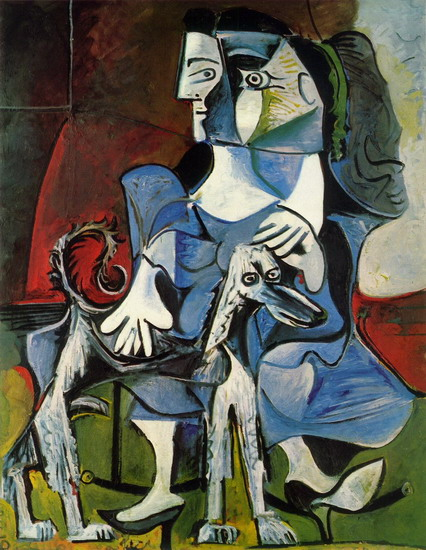 Pablo Picasso. Woman with dog (with Jacqueline Kabul), 1962