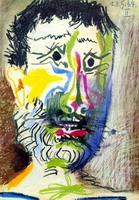 Pablo Picasso. Head of a bearded man with cigarette II