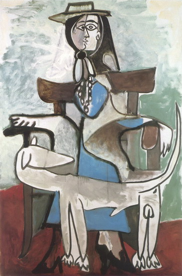 Pablo Picasso. Jacqueline and Afghan dog, 1959
